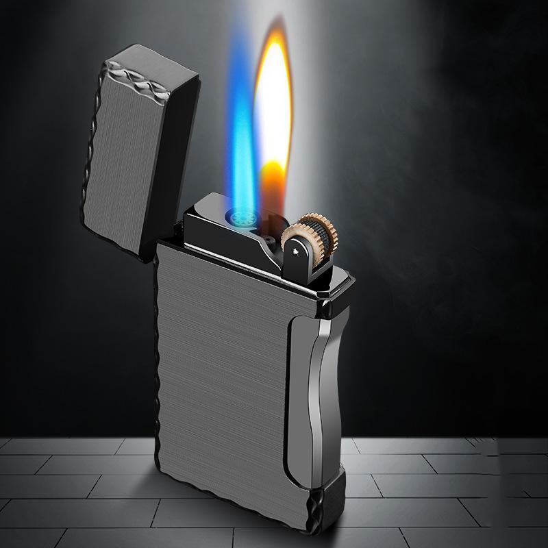 2 in 1 Zigarettenanzünder Fackel-Feuerzeug 1 Jet-Butan-Gas-Zigarre windundurchlässiges Metallfeuerzeug für Küche Blue Flame JX36