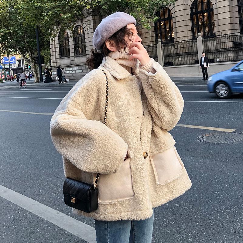 201909 Yeni Koreli Kuzu Kaşmir Sahte Kürk Kış Coat Kadınlar Kısa Ceket Kadınlar Oyuncak Coat Kürklü Teddy Ceket SH190930 kalınlaştırın