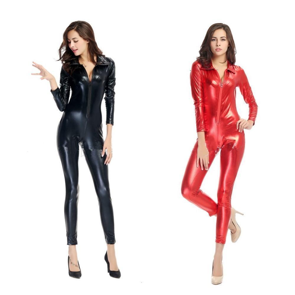 Поп-2019 красный черный красный готический панк Сексуальная искусственной кожи комбинезон костюм передняя молния для мужчины женщины клуб Хэллоуин необычные платья размер M XL