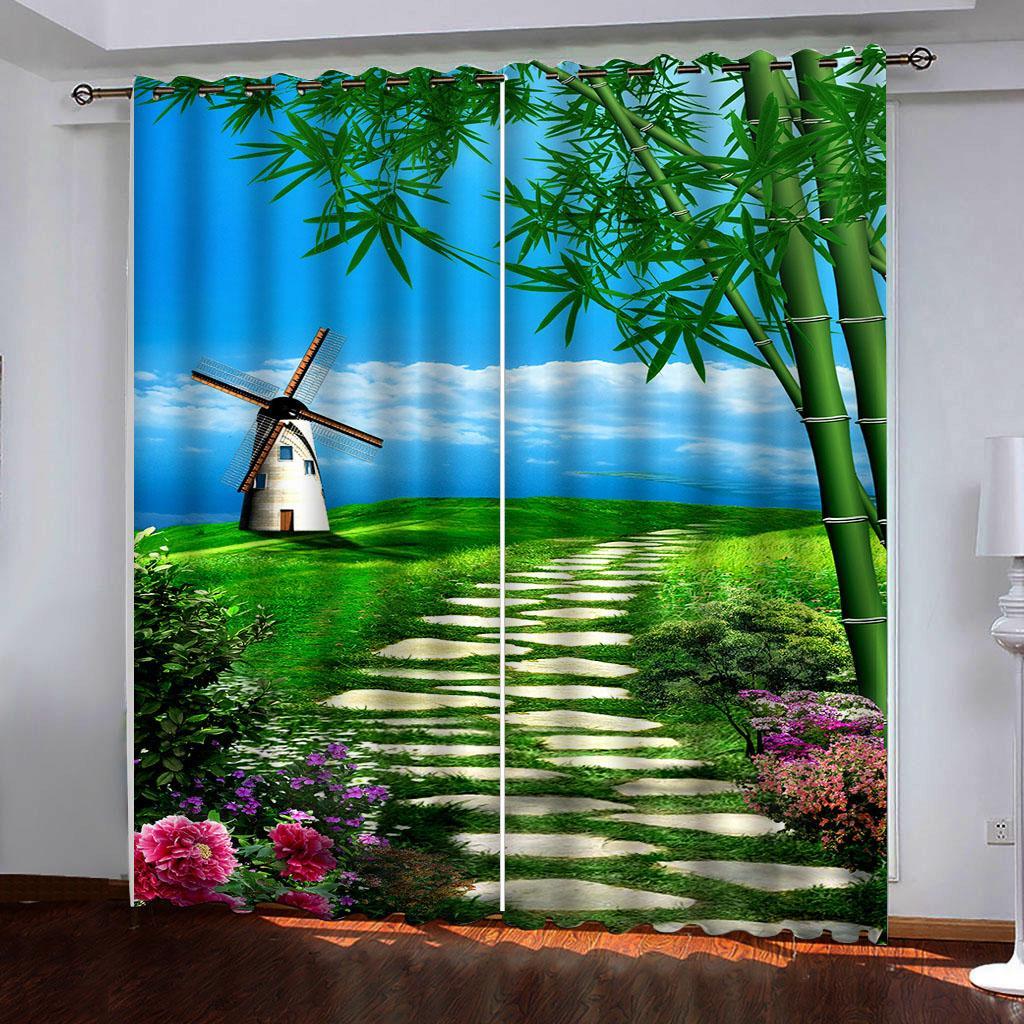 paisaje parque verde cortina de ventana 3D para el dormitorio Superficie de la sala Office Hotel decorativo de la pared personalizada
