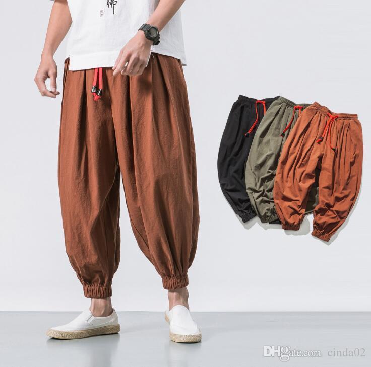 Streetwear Coton Lin Cross-Pants Pantalons Hommes Pantalons Hommes Pantalons Jogger Hip Hop Pantalon Jogger Sarouel