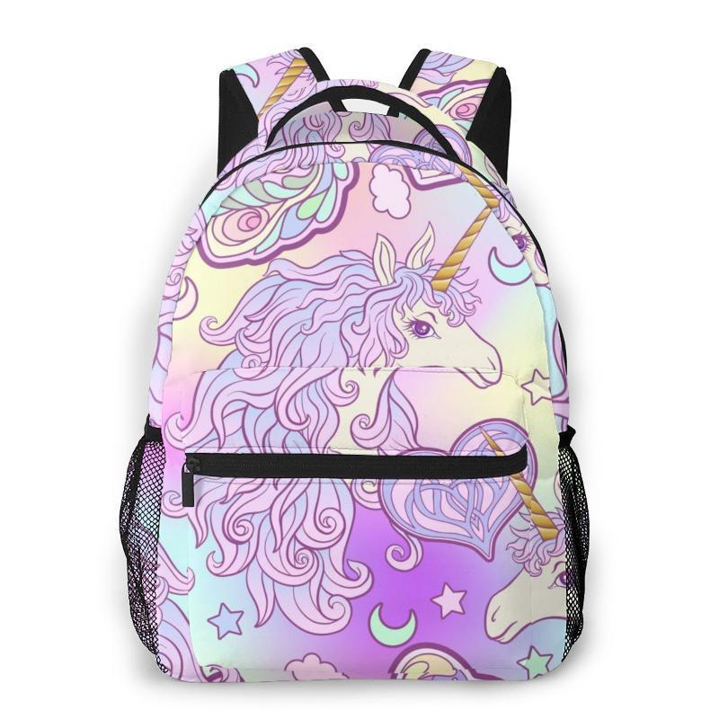 Genç girsin Kadın Gezi Backpack için Unicorn ile Mane Kelebek Gökkuşağı Yıldız Aşk Kalp 2020 Yeni Kadın Sırt Çantası Okul Çantaları