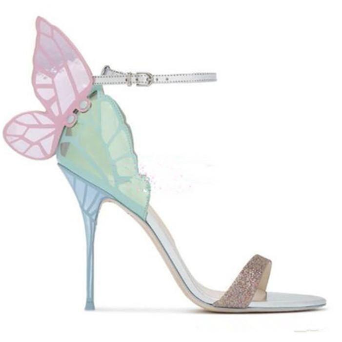 뜨거운 판매 - 여성 다채로운 나비 하이힐 검투사 샌들 파티 웨딩 신발 여성
