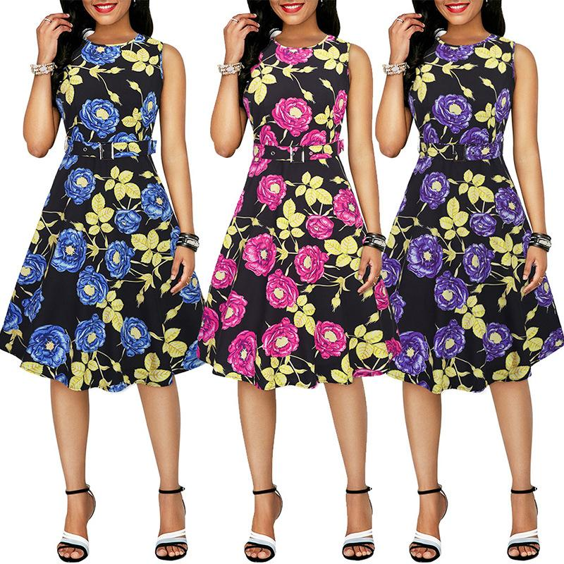 Spring and Summer 2009 New Women's Dresses New Dresses with Belt Flower Rose Printed A-shaped Skirt