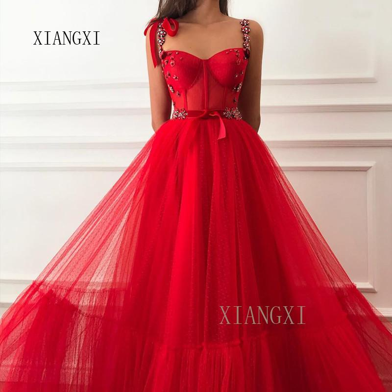 2019 New Listing Red Evening Dresses Sheer A-Line Spaghetti Strapl Crystal Beaded Floor Length Evening Dress Long Prom Party Gow