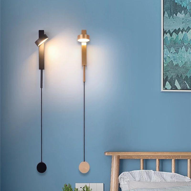 Dim Anahtarı LED Döner Duvar Lambası Nordic Basit Yatak Başucu TV Arkaplan Salon Koridor Koridor Duvar Işıklar