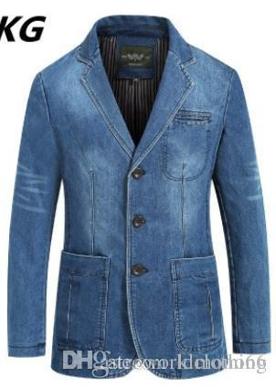 رجل مصمم جاكيتات الشتاء الدينيم الحلل الأزرق نمط معاطف سترة واحدة الصدر 4xl معطف