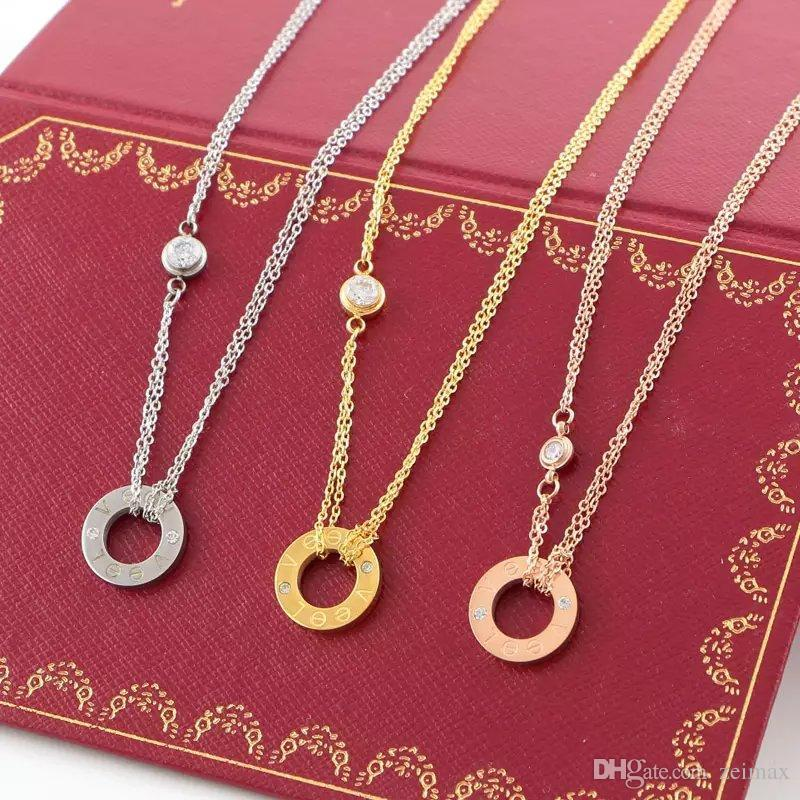LOVE Circle Necklace with CZ diamond Pendant Rose Gold Silver Color Necklace for Women Vintage Collar Costume Jewelry with original box set