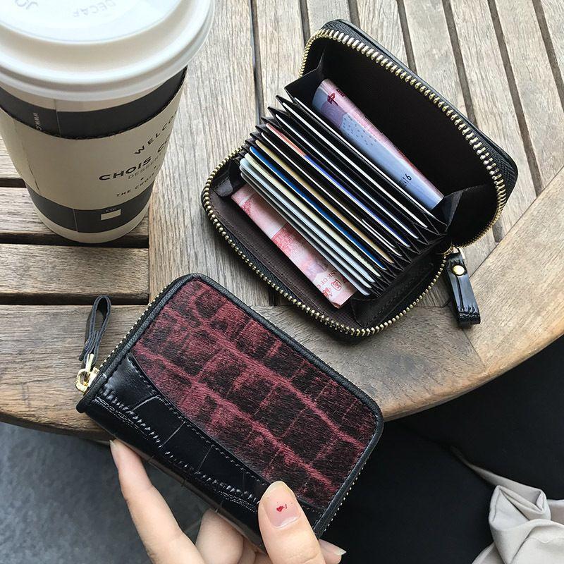 Femmes en peau de vache en cuir véritable titulaire de la carte cheval cheveux Zipper Money Bank ID titulaire de la carte de crédit Porte-monnaie Porte-monnaie unisexe