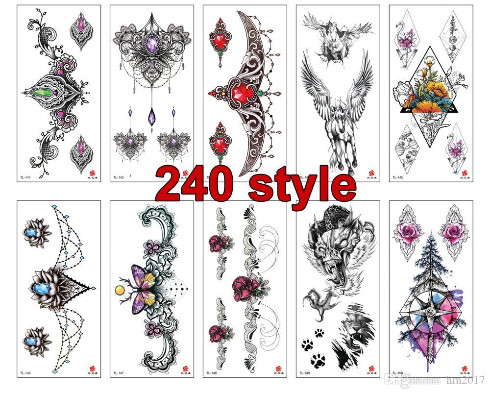 240 نمط النساء الرجال diy الحناء هيئة الفن للماء الوشم تصميم فراشة شجرة فرع حية المؤقتة الوشم ملصق