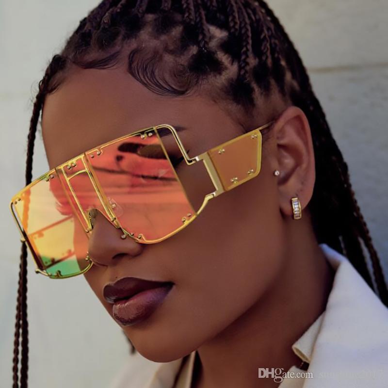 Büyük Boy Şeffaf Yeşil Kahverengi Güneş Kadınlar Rihanna Tasarımcı Temizle Shades İtalya Marka Yüksek Kalite Büyük Gözlük Erkekler Gafas UV400