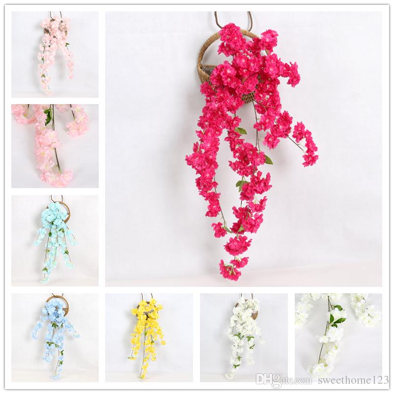 High Imitation Cherry Blossom for Wedding Party Wall Decoration Hangings in Living Room Artificial Flower Vine for Balcony Bed Room