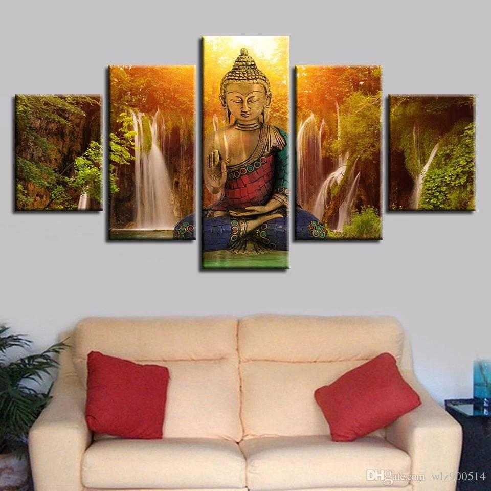 Abstract Canvas Art Painting Buddha Waterfall Landscape Module Printed Poster Wall Art Home Decor Living Room Poster No Frame