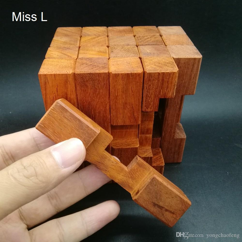 20 أعمدة الأحمر الماهوجني خشبية كونغ مينغ قفل الدماغ دعابة لغز هيكل متناظرة نموذج لعبة تعليمية لعبة