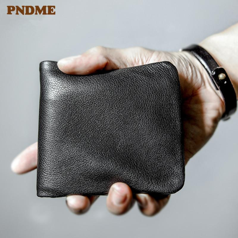 PNDME high quality soft genuine leather men's short wallet casual simple youth full cowhide thin credit card holder black purse