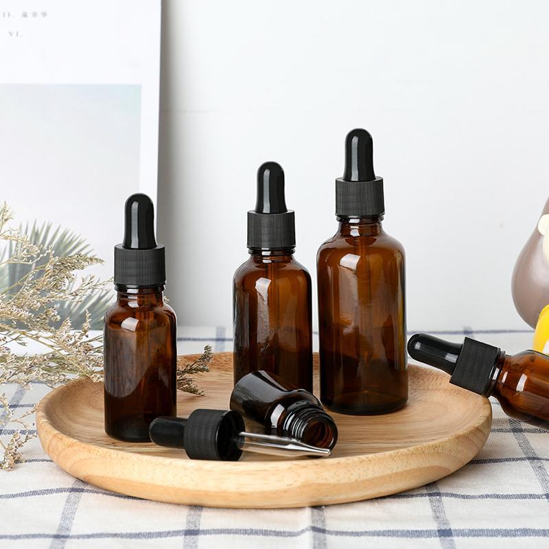 5-50ml Brown Dropper Drop Ambre en Verre Aromatherapy Liquide pour huile de massage de base essentielle Flacon Pipette Flacons rechargeables