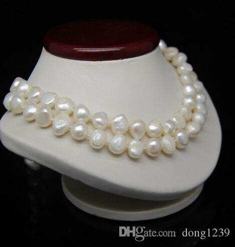 """32 """"long 8-9MM collier de perles de couleur blanche irrégulière"""