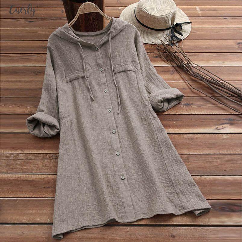 Мода женщина M 5L рубашка женская повседневная кнопка плюс размер хлопок белье топы футболка с капюшоном карман свободные длинные рукава Весна