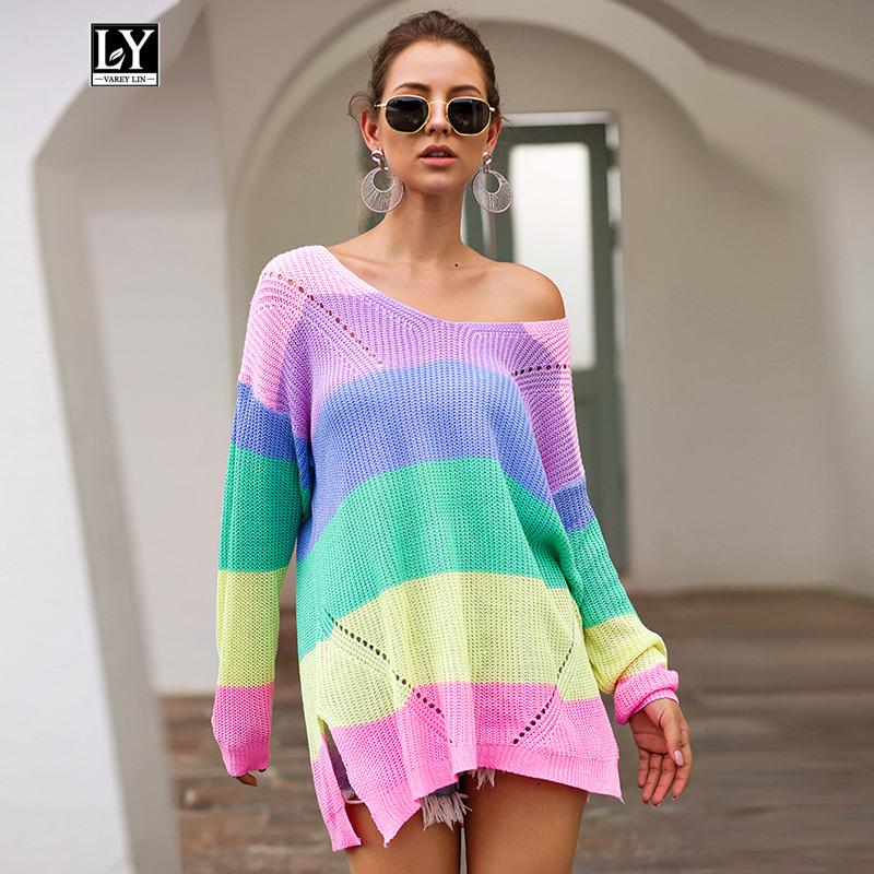 Ly Varey Lin Rainbow Colorful Stripe Print Mujeres Otoño Invierno Hollow Out Hole Suéter roto Jersey de punto Cuello suelto Tops