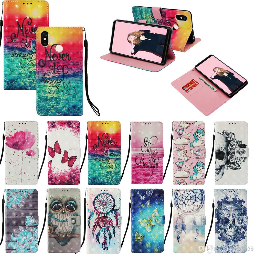 Bling Diamond 3D Leather Wallet Case For Xiaomi F1 Redmi S2 Y2 6 Pro Note 5 Pro 5 Plus 4X 5A Wood Lace Owl Flower Skull Unicorn Flip Cover