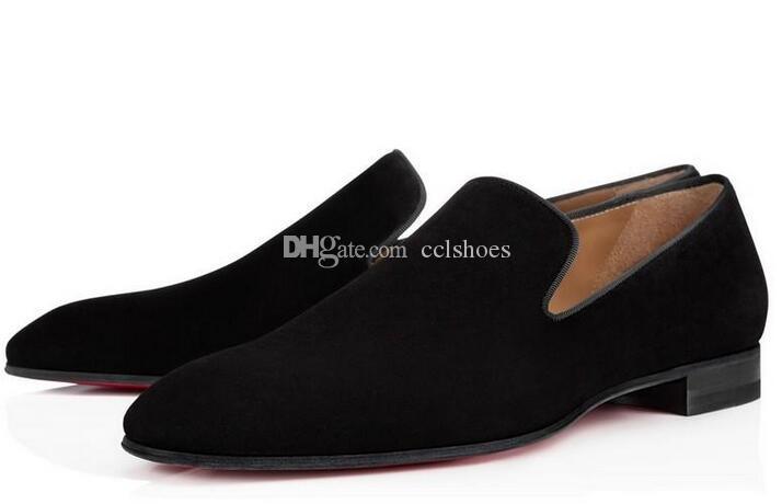 [Original Box] Marke Red Bottom Loafers Luxus-Partei-Hochzeit Schuhe Designer schwarzem Lackleder Velourslederschuhe für Herren auf Ebene Schlüpfen