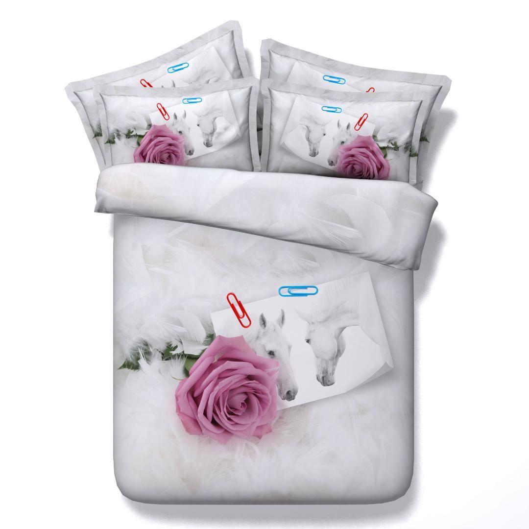 Housse de couette housse de couette de cheval blanc de la fleur 3d rose rouge / roi / roi / super king size literie florale ensembles oreiller couple