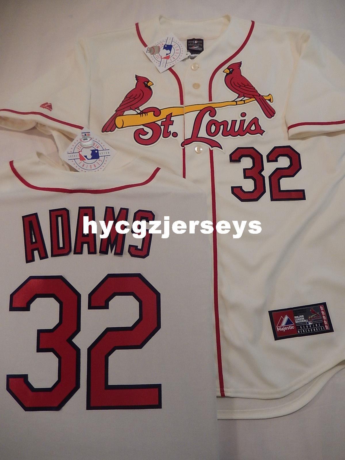baseball pas cher Sc # 32 MATT ADAMS COUSUES Alternate Jersey CRÈME Mens maillots cousu Big and Tall TAILLE XS-6XL à vendre