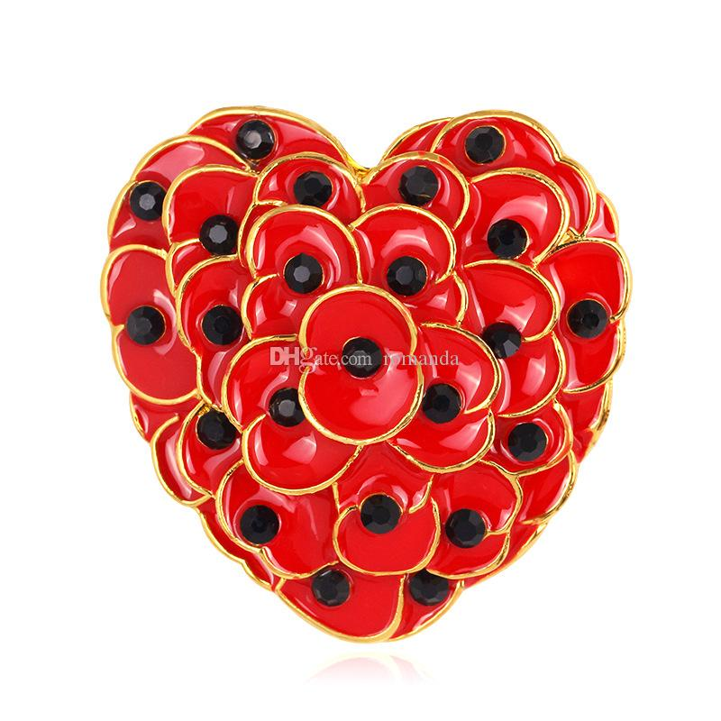 Gold Plated Heart Shaped Poppy Brooch The British Legion Poppy Brooch Pins For UK Remembrance Day DHL Free Shipping