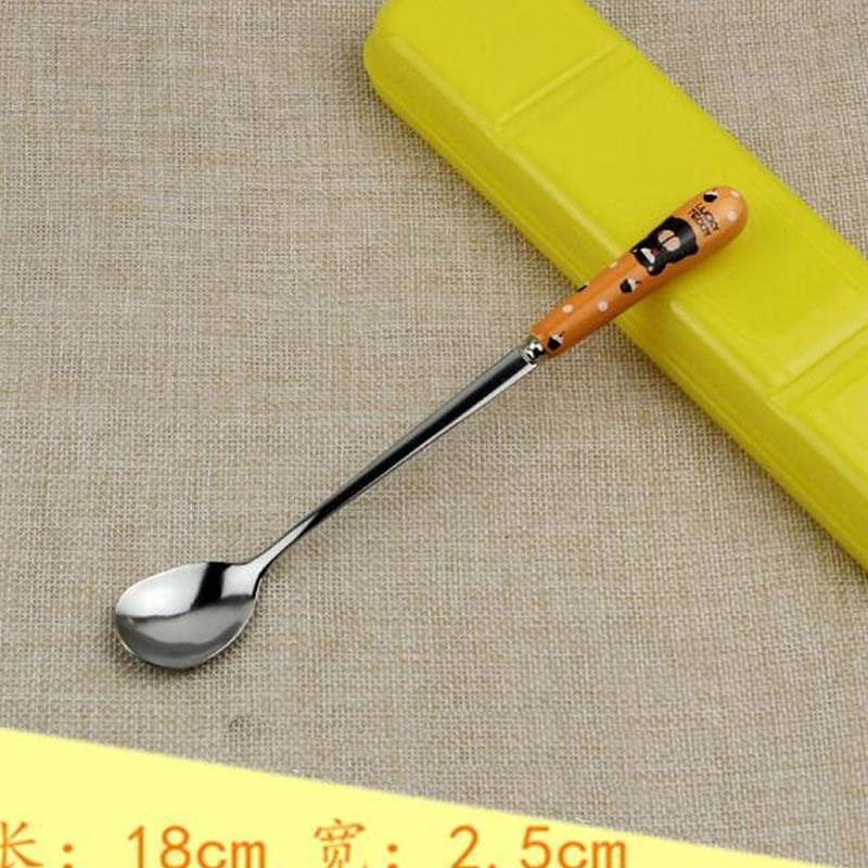 Los niños de cerámica cuchara de café oso de peluche de la historieta de la cuchara del acero inoxidable creativo