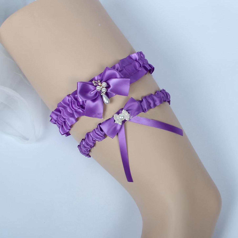 Bridal Garters Bow Satin Wedding Garters Bride Beach Prom Set Vintage Wedding Garter Belts