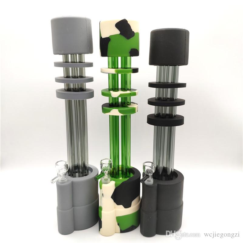 DHL Free 13 Inches Gatling Silicone Bong Water Pipe Dab Rigs Glass Gun Tubes silicone Bongs with glass bowl 14mm In Stock