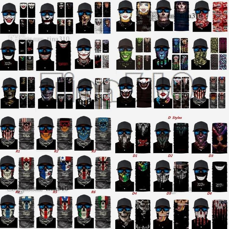 Impresión digital de alta calidad Mujeres y hombres Magic Headscarf Sunscreen Mascarilla de montar al aire libre Cuello de pesca Máscara de cráneo Máscaras de fiesta C0225