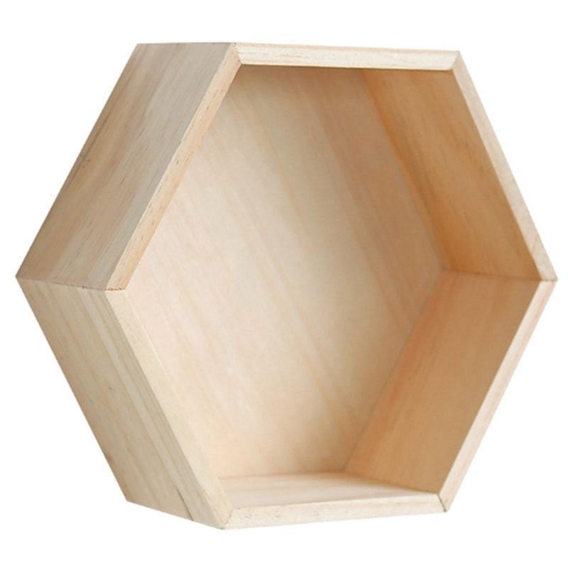 Nordic Stil Kinderzimmer Kinderzimmer Dekoration Regal aus Holz Gelb Weiß Honeycomb Hexagon Regale für Baby-Kind-Schlafzimmer-Dekoration