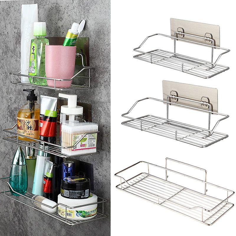 Acero inoxidable Baño Cocina plataforma de almacenamiento de adhesivo cesta corte libre P7Ding Y200429