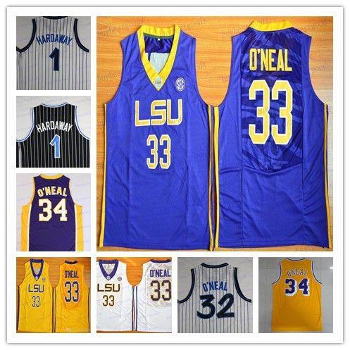 2019 LSU Barato Shaquille O'Neal Penny Hardaway Jersey Shaq ONeal 34 Shaquille O Neal Camiseta de baloncesto de la universidad Camisetas cosidas