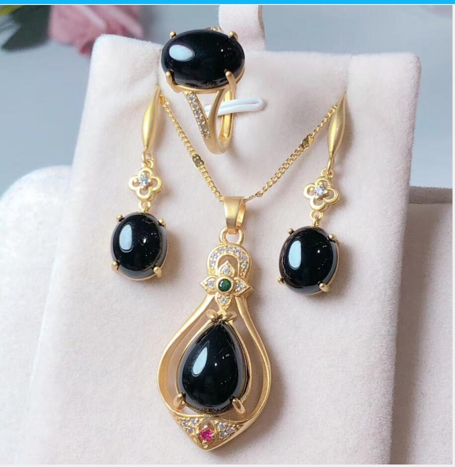 It gets dark, agate three-piece certificate of jewellery set with free shipping T39