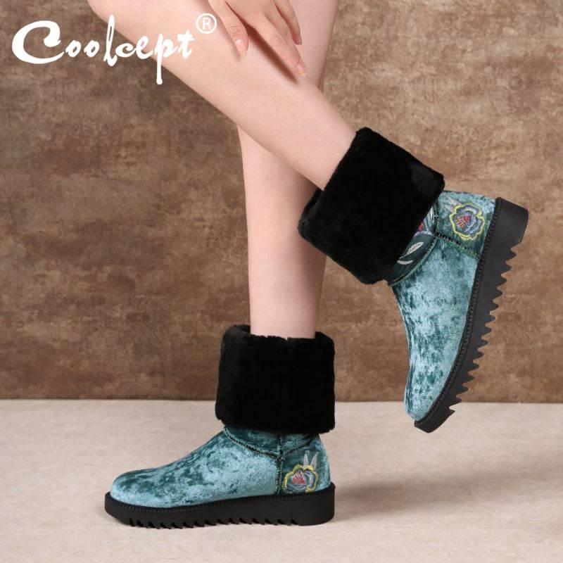 Coolcept donne di alta qualità Snow Boots punta rotonda Appartamenti peluche pelliccia all'aperto casual metà polpaccio stivali caldi Scarpe Donna Dimensione 34-43