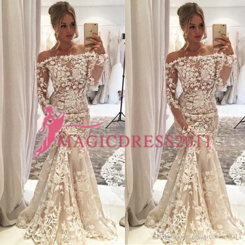 Luxury Boat Neck Wedding Dress Collection 2019 Nigerian Lace Styles Lace Adoration Long Sleeves Mermaid Bridal Gowns
