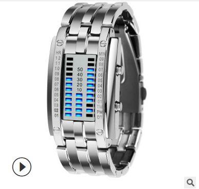 Vendita calda Sport Orologio Nuovo Skmei Display a LED creativo per uomini Donne in acciaio inox cinturino in acciaio inox orologi 5bar impermeabile 50mm orologio digitale2.0 volte