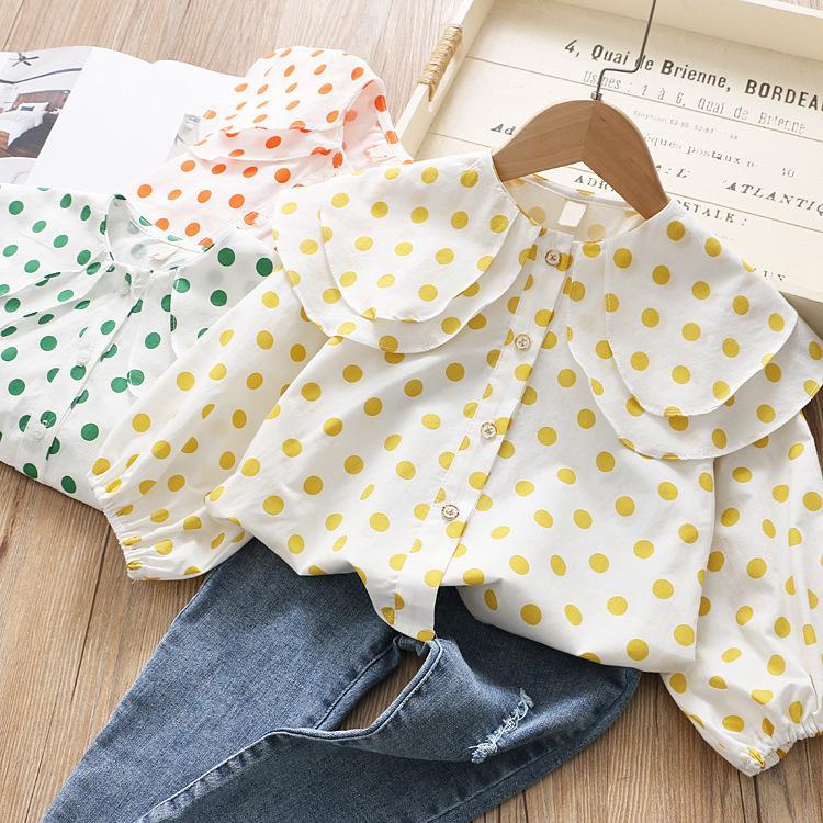 2020 Новые продукты Childrenswear Девушки двухслойный Гофрированные воротник с длинными рукавами рубашки Весна Дети Детские Пунктирная Сладкая рубашка