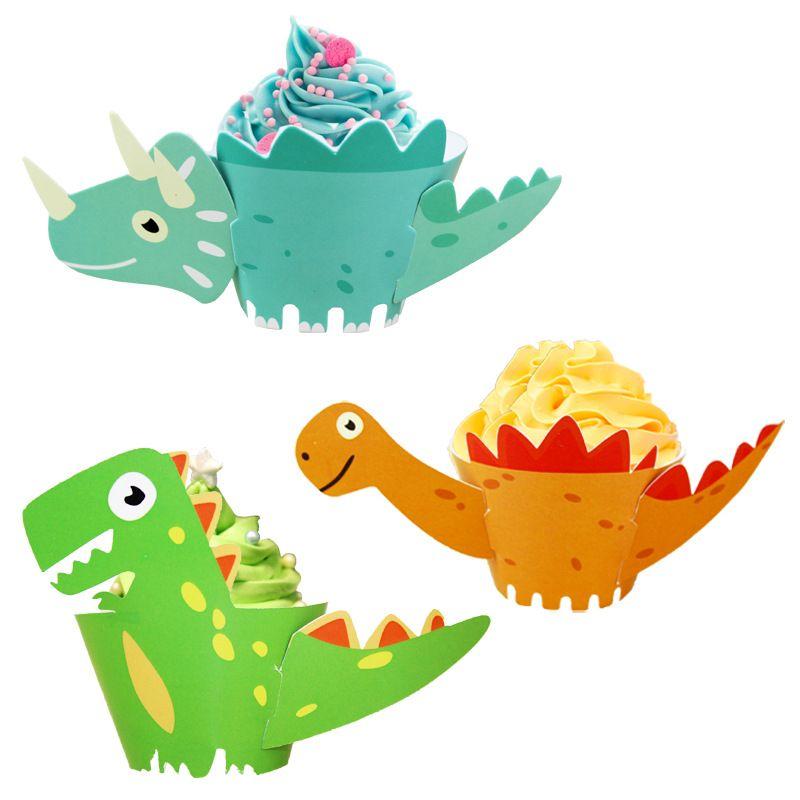 12pcs/set Dinosaur Unicorn Cupcake Wrapper Cake Decorating Tools Kids Baby Shower Birthday Party Decorations WB1883