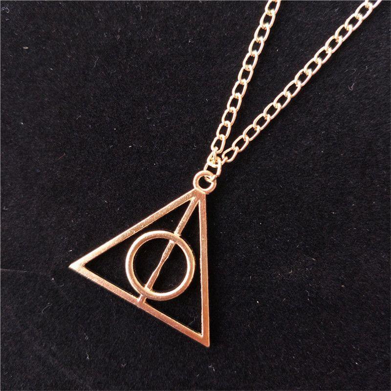 Jóias moda de alta qualidade The Deathly Hallows triângulo colar antigo Harry Prata Bronze ouro Deathly Hallows Pingentes Potter WCW733