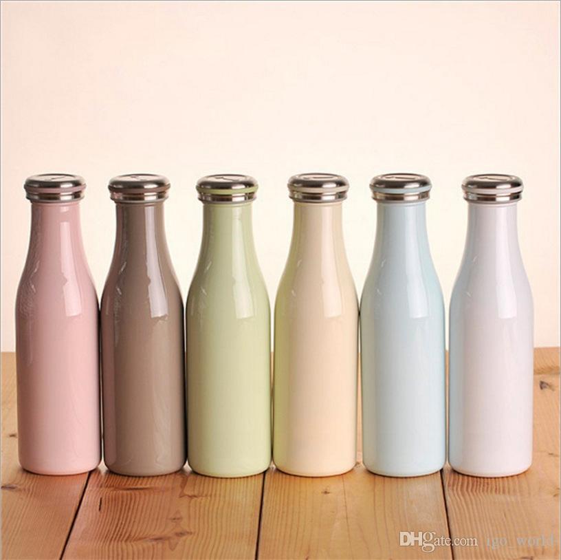 12 oz 17 oz Macaron Lait Bouteille Bouteille de lait en acier inoxydable à isolation sous vide à double paroi Coupe Thermos Bouteille d'eau
