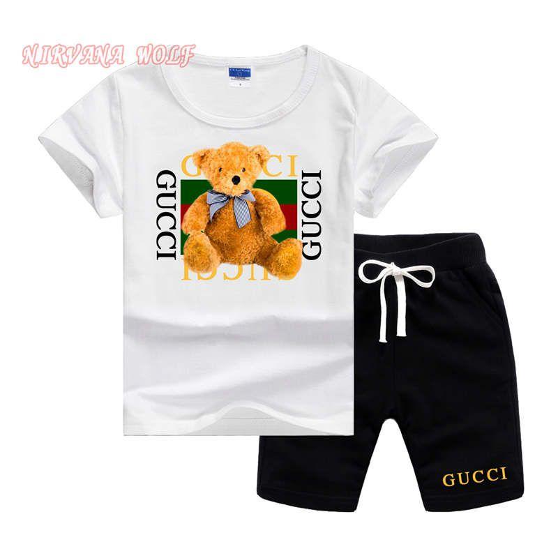 Логотип бренда Luxury Designer Детская одежда Наборы Летняя детская одежда Принт для мальчиков Костюмы для малышей Модные футболки Шорты Детские костюмы 0807