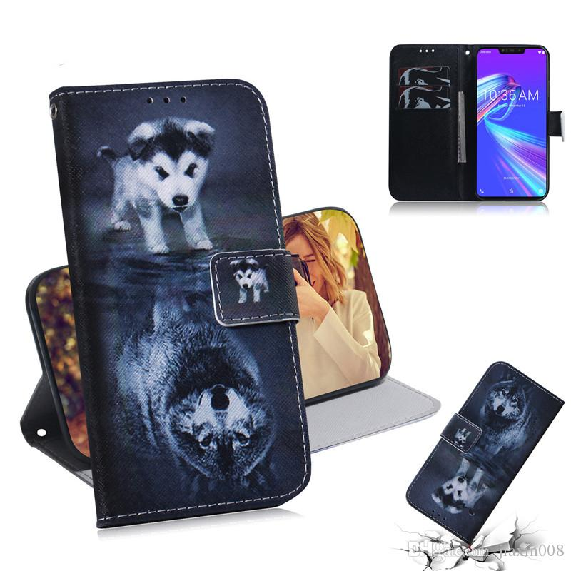 Wallet Case For Asus Zenfone Max (M2) ZB633KL Filp Cover Hot selling Coloured pattern Wolf tiger lion Owl Dog With Card Slot Design