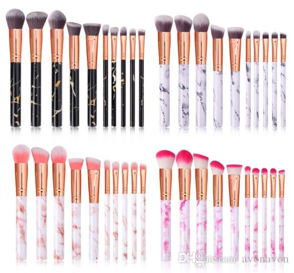 Marbling Handle Makeup Brushes 10Pcs/Set Professional Makeup Brushes eye Shadow Eyebrow Lip Eye Make Up Brush Comestic Tool