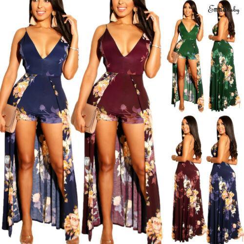 Tops Floral Club Party Playsuit Dividir Maxi Longo New Summer Beach Jumpsuit Romper capuz de 2019 Sexy Mulheres
