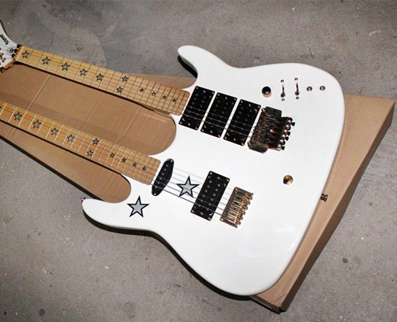 personalizada de fábrica preço de desconto por atacado, duplo pescoço 6 + 6 corda da guitarra elétrica branca, inlay pentagrama, bordo, pode ser personalizado