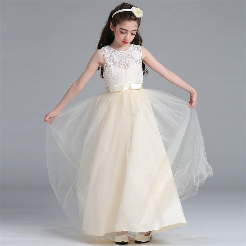 Kids Bridesmaid Lace Girls Dress For Wedding and Party Dresses Evening Christmas Girl long Costume Princess Children MBD0020-1