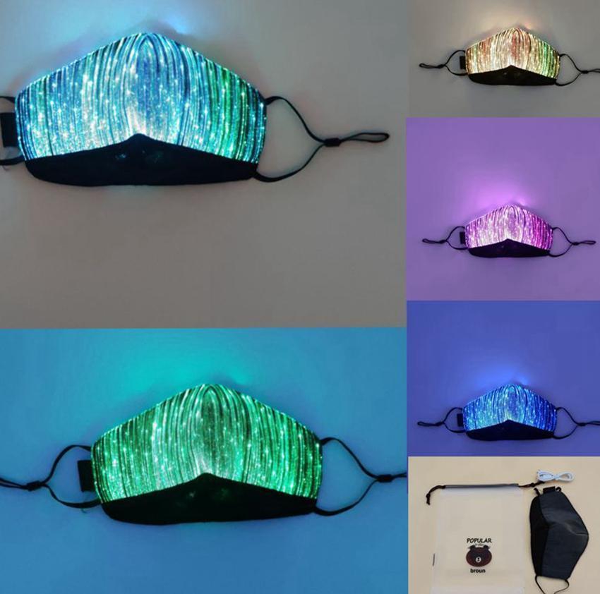 Цветные огни LED Light up Face Mask USB перезаряжаемая светящаяся пылезащитная маска для вечеринки бар танцы рейв маскарадные костюмы маска для лица LJJK2154